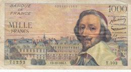 Billet 1000 F Richelieu Du 2-12-1954 FAY 42.09 Alph. T.103 - 1871-1952 Anciens Francs Circulés Au XXème