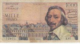 Billet 1000 F Richelieu Du 7-10-1954 FAY 42.08 Alph. Z.67 - 1871-1952 Gedurende De XXste In Omloop