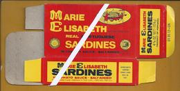 Caixa De Cartão Da Lata Sardinhas Marie Elisabeth. Tin Can Cardboard Box Marie Elisabeth. Cannery Industry Of Portimão. - Food