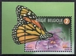 Belgium 2019 MNH, Animals, Pollinators, Monarch Butterfly (Danaus Plexippus) On Summer Lilac, Monarque - Farfalle