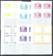 St Vincent Grenadines 1988 15c Explorer Bering & Ship On Ice 6 X Imperforate Colour Separation Proofs Blocks 4 MNH - St.Vincent & Grenadines