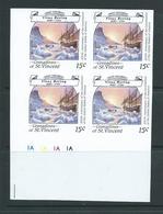 St Vincent Grenadines 1988 15c Explorer Bering & Ship On Ice Imperforate Proof Plate Number Block 4 MNH - St.-Vincent En De Grenadines