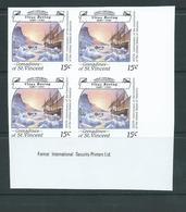 St Vincent Grenadines 1988 15c Explorer Bering & Ship On Ice Imperforate Proof Imprint Block 4 MNH - St.Vincent & Grenadines
