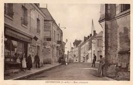 Continvoir  37   La Rue Principale Bien Animée Devant Epicerie Et Café - Francia