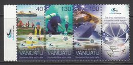 2014 Vanuatu Submarine Cable JOINT ISSUE Complete Strip Of 3+tab MNH - Vanuatu (1980-...)