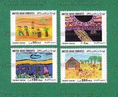 1999 UAE Emirates Emirats Arabes - CHILDREN PAINTING 4v MNH ** - ART DRAWING CREATIVITY Mosque, Mosques, ISLAM, Desert - Islam