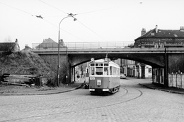 Lille. Fives-Rue Pierre Legrand. Tramways Ligne B. Cliché Jacques Bazin. 06-02-1960 - Tramways