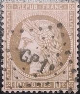 FRANCE Y&T N°54a Cérès 10c Brun Foncé Sur Rose. Oblitéré Losange Amb. GP1 - 1871-1875 Ceres