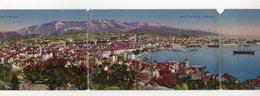 1920 YUGOSLAVIA, CROATIA, SPLIT TO BELGRADE, SPALATO, TRIPTIH, THREE PART POSTCARD - Yugoslavia