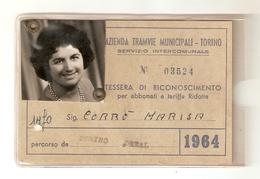 BIGL--00057-- ABBONAMENTO AZIENDA TRAMVIE MUNICIPALI-TORINO-SERVIZIO INTERCOMUNALE ANNO 1964-TARIFFA RIDOTTA - Abbonamenti