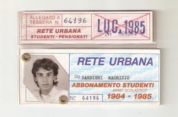 BIGL--00058-- ABBONAMENTO RETE URBANA TORINO-STUDENTI PENSIONATI- ANNO 1984/85 - Abbonamenti
