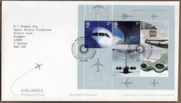 2002 Airliners Mini Sheet FDC Tallents House - FDC