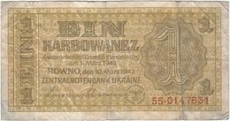 Ucrania - Ukraine 1 Karbowanez 10-3-1942 Pk 49 Ref 6 - Ucrania