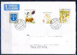 K1008- Postal Used Cover. Posted From Slovensko Slovakia To Pakistan. Plants. Tree. Cartoon. - Slovakia