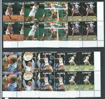 St Vincent 1987 Wimbledon Tennis Champions Set 8 MNH Blocks Of 4 Becker Navratilova Lendl Graf - St.Vincent (1979-...)