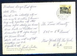 K1042- Postal Used Post Card. Post From Kenya To USA. Greetings From Mombasa. Ship. Building. Transport. - Kenya (1963-...)