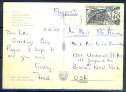 K1045- Postal Used Post Card. Post From Ceskoslovensko To USA. Wenceslas Square Place Saint Venceslas. - Tsjechoslowakije