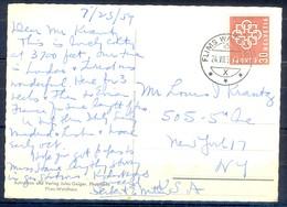 K1051- Postal Used Post Card. Post From Helvetia Switzerland To USA. Das Kirchlein Von Fidaz. Church. - Switzerland