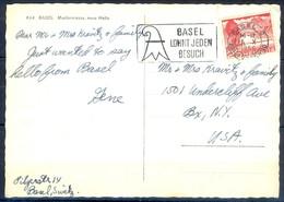 K1052- Postal Used Post Card. Post From Helvetia Switzerland To USA. Plants. Tree. Building. - Switzerland
