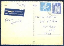 K1054- Postal Used Post Card. Post From Helvetia Switzerland To USA.  Zurich. Zurich. - Switzerland