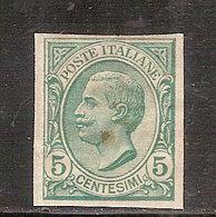 (Fb).Regno.V.E.III.1906.VARIETA'.5c Verde Nuovo Non Dentellato (75-17) - 1900-44 Vittorio Emanuele III
