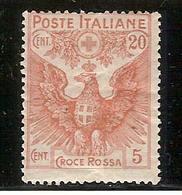 """(Fb).Regno.V.E.III.1915-16.""""Pro Croce Rossa"""".20c + 5c Arancio Nuovo,gomma Integra,MNH (339-15) - 1900-44 Victor Emmanuel III"""