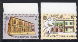CYPRUS - 1990 EUROPA POST OFFICE BUILDINGS SET (2V) FINE MNH ** SG 774-775 - Unused Stamps