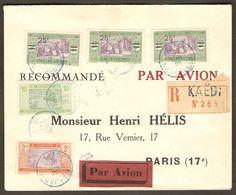 Mauritanie Mauritania Kaedi 1925 Registered Aeropostale Cover - Pli Recommandé - Timbres Senegal Stamps - To Henri Helis - Briefe U. Dokumente