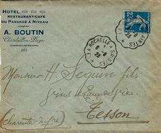 1923- Enveloppe De Chatelaillon ( Char. Mar.) Affr. 25 C Oblit. Conv. Ligne La Rochelle à Saintes - Marcophilie (Lettres)