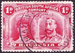 RHODESIA - BRITISH SOUTH AFRICA CO 1910KEDVII 1d Bright-Carmine SG123Used - Gran Bretagna (vecchie Colonie E Protettorati)