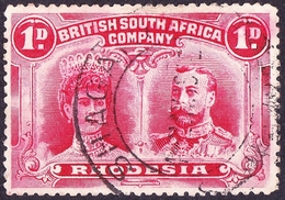 RHODESIA - BRITISH SOUTH AFRICA CO 1910KEDVII 1d Bright-Carmine SG123Used - Grande-Bretagne (ex-colonies & Protectorats)