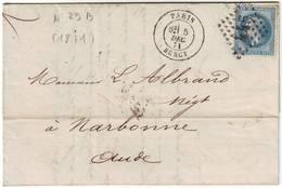 N° 29 SEUL Sur Lettre Du 5 Decembre 1871 Et NON TAXE !!!! RARE Et TTB++++ - Marcophilie (Lettres)