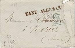 Griffe TAXE ALLEMANDE Sur Lettre De PARIS 21 Fevrier 1871 , Rare Mais Manque Le Timbre ... Pour Reference Guerre De 70 - Marcophilie (Lettres)