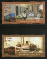 Sri Lanka 2017 World Post Day Railway Travelling Post Office Port Ship MNH # 2542 - Stamp's Day