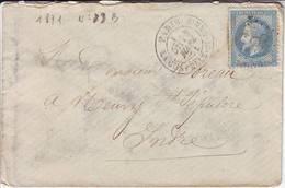 N° 29 Obl Sur Lettre De Paris 25 MARS 1871 , Debut De La COMMUNE Pour L' INDRE Sans Arrivee ( Normal ) - Marcophilie (Lettres)