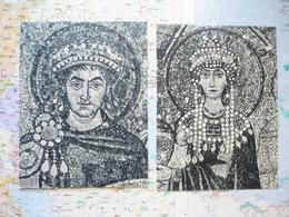 2 Images De Mosaïques Religieuses Découpées Dans Des Cartes Postales Aux Musées D'Europe Mouret Paris - Vieux Papiers