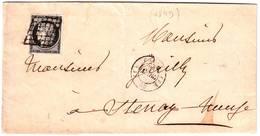 20 C NOIR CERES N° 3 Obl Grille TTB Sur Lettre De Paris Bureau F , 23 Mars 1849 - 1849-1876: Classic Period