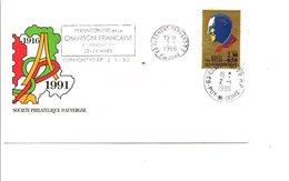 1 ER JOUR FLAMME 7 émes RENCONTRE DE LA CHANSON FRANCE à CLERMONT FERRAND 1996 - TINO ROSSI - Oblitérations Mécaniques (flammes)