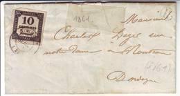 TAXE N° 2 Obl NONTRON Dordogne  Lettre Locale 1861 - Marcophilie (Lettres)