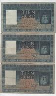 PAYS BAS.3 BILLETS DE TIEN GULDEN DE 1934.35 Et 36.TTB - [3] Emissioni Ministerie Van Oorlog