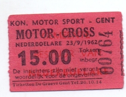 Etiket Etiquette - Inkom Ticket - Motorcross Nederboelare 1962 - Tickets D'entrée