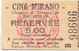 Etiket Etiquette - Inkom Ticket - Cinema Bioscoop Ciné Mirano - Bruxelles - 5 Fr - Tickets D'entrée
