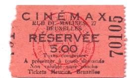 Etiket Etiquette - Inkom Ticket - Cinema Bioscoop Ciné Max - Bruxelles - 5 Fr - Tickets D'entrée