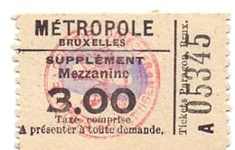 Etiket Etiquette - Inkom Ticket - Cinema Bioscoop Ciné Métropole - Bruxelles - 3 Fr - Tickets D'entrée
