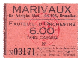 Etiket Etiquette - Inkom Ticket - Cinema Bioscoop Ciné - Marivaux - Bruxelles - 6 Fr - Tickets D'entrée