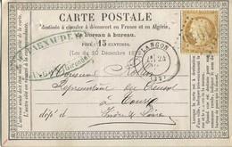 Carte Postale Precurseur 1873 CACHET GC 1945 Sur CERES 15 C. De Langon En Gironde - Marcophilie (Lettres)
