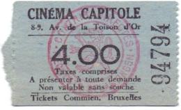 Etiket Etiquette - Inkom Ticket - Ticket D'entrée - Cinema Bioscoop Ciné Capitole - Bruxelles - 4 Fr - Tickets D'entrée