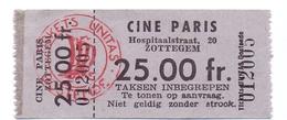 Etiket Etiquette - Inkom Ticket - Ticket D'entrée - Cinema Bioscoop Ciné Paris - Zottegem - 25 Fr - Tickets D'entrée