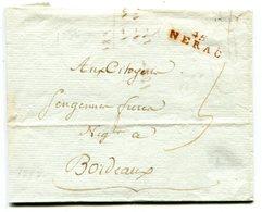 LOT ET GARONNE De NERAC LAC Du 25/09/1797 Linéaire Rouge 24x7 Taxée 5 Pour BORDEAUX - Marcophilie (Lettres)