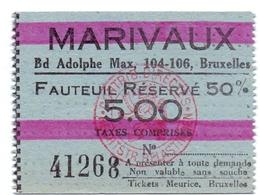 Etiket Etiquette - Inkom Ticket - Ticket D'entrée - Cinema Bioscoop Ciné - Marivaux - Bruxelles - 5 Fr - Tickets D'entrée